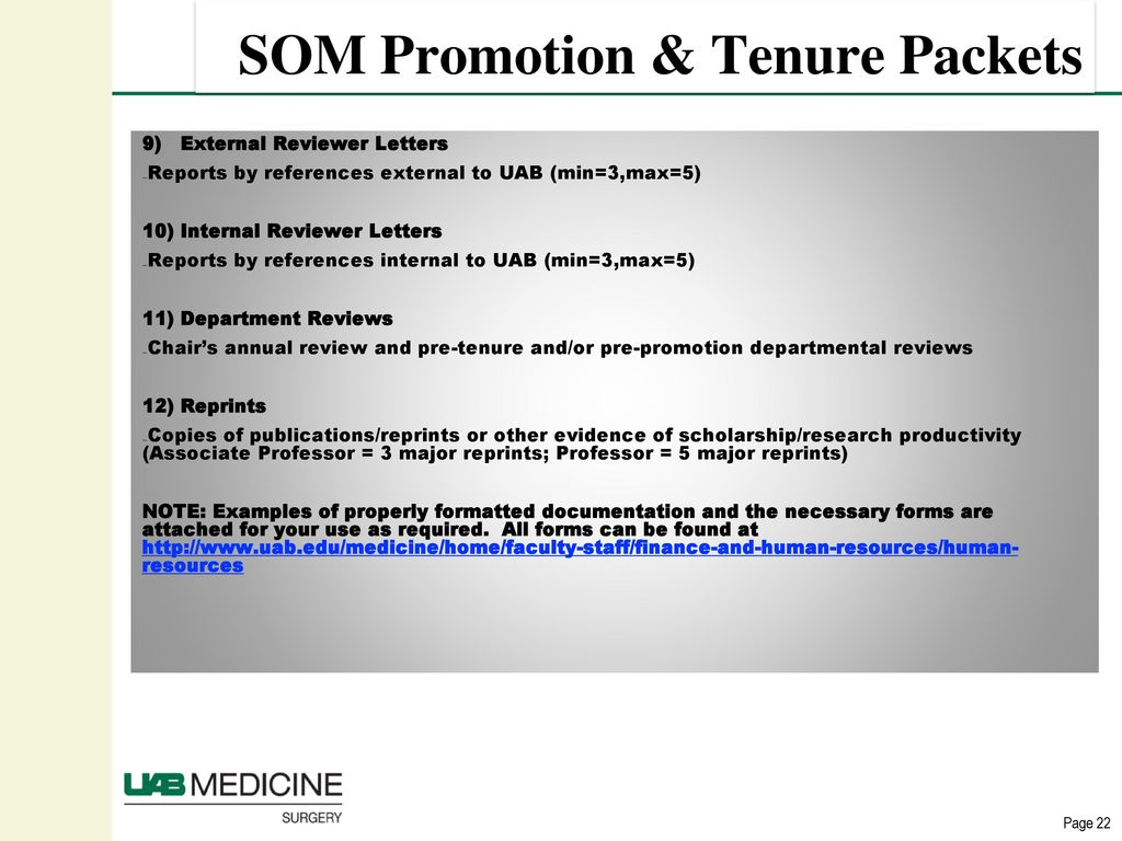 Promotions and Tenure UAB School of Medicine  - ppt download