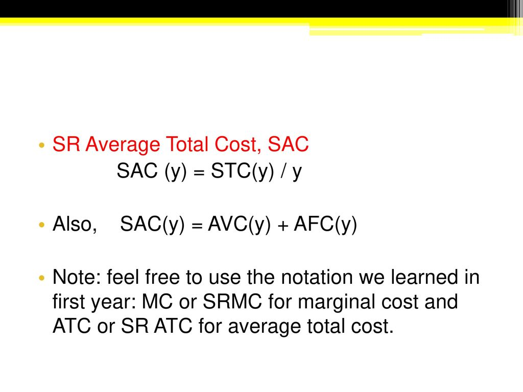 Sr Average Total Cost Sac