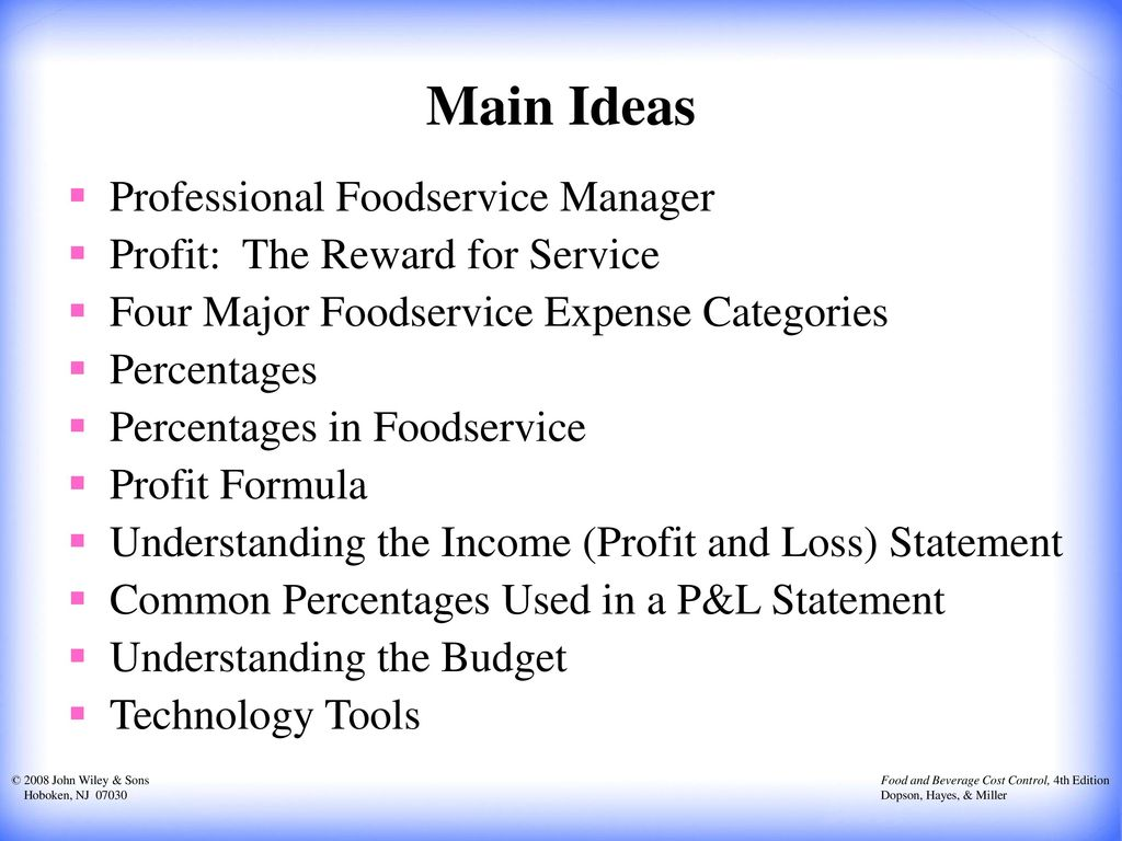 Main Ideas Professional Foodservice Manager
