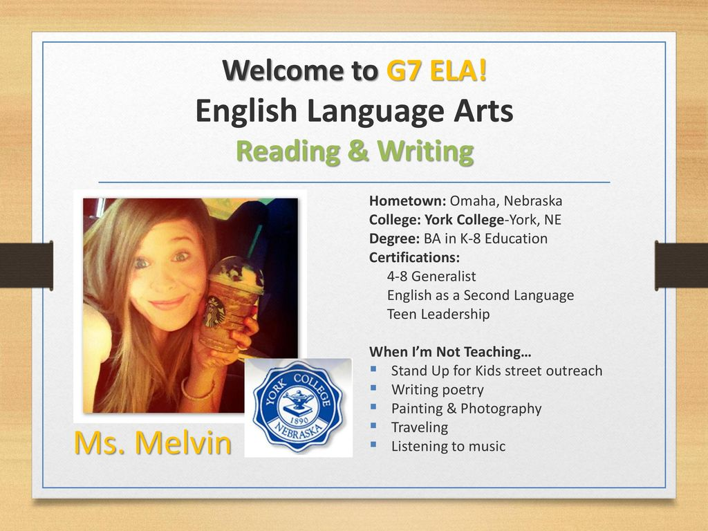 Welcome to G7 ELA! English Language Arts Reading & Writing - ppt ...