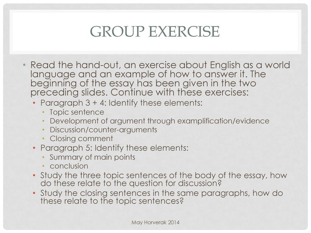 modelling of how to write an essay  ppt download  group exercise read the handout an exercise about english as a world  language