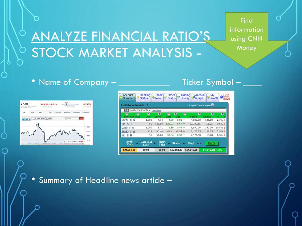 Analyze Financial Ratio's Stock Market Analysis - - ppt download