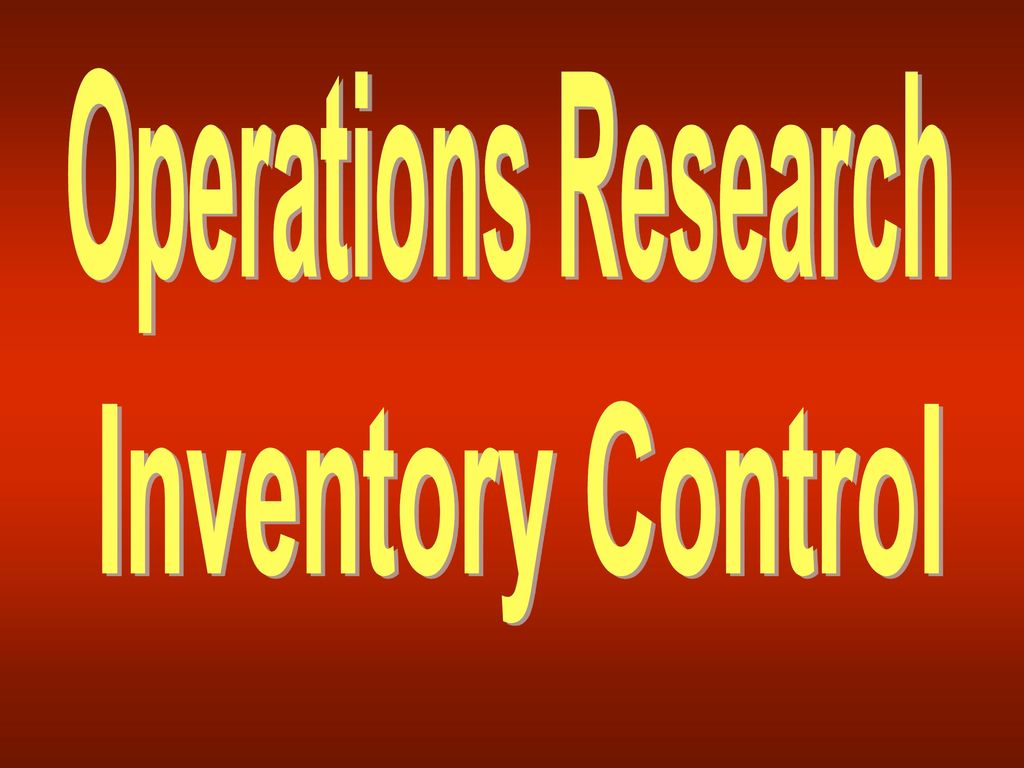 Operations Research Lecture ppt download