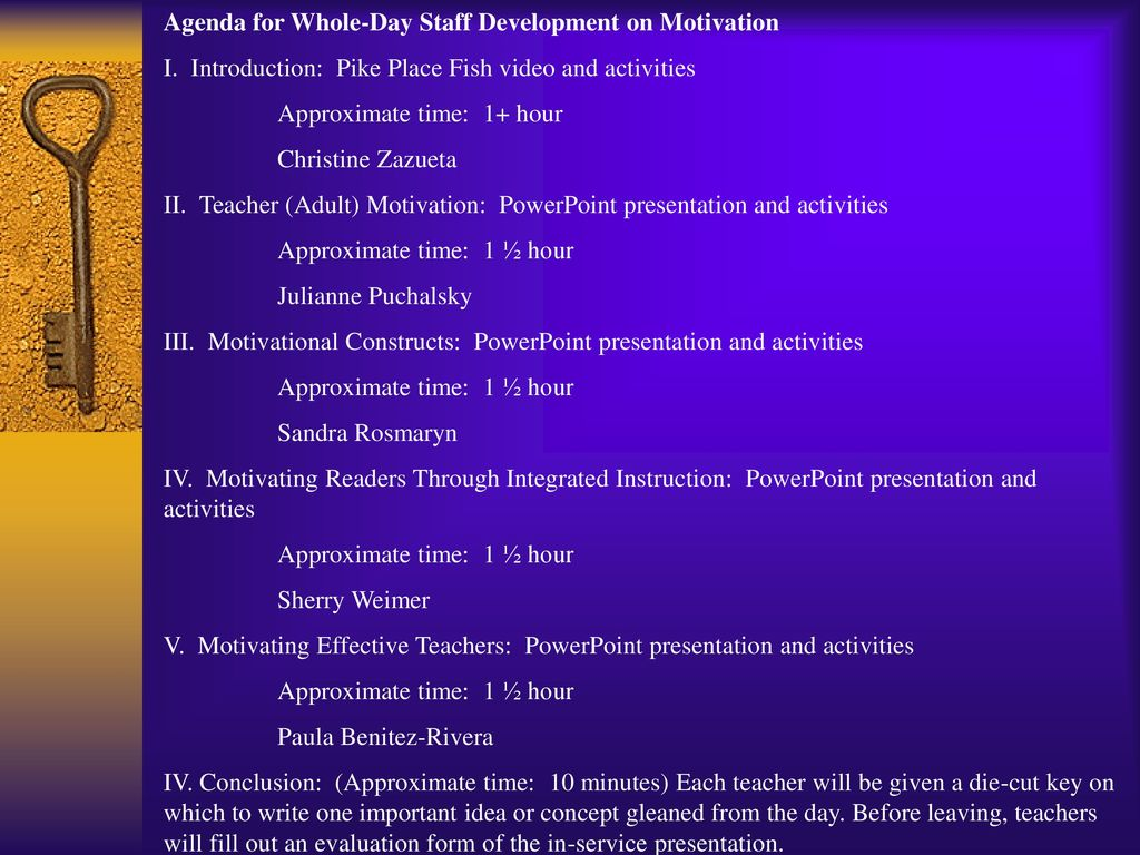 Agenda for Whole-Day Staff Development on Motivation - ppt