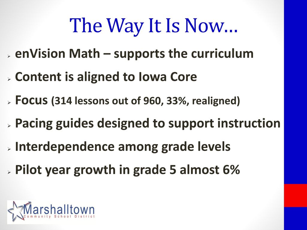 enVision Math – supports the curriculum