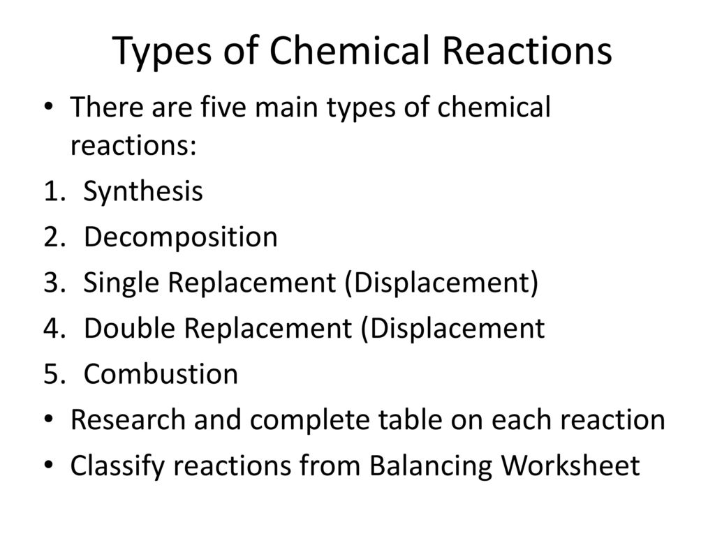 types chemical reactions essay Types of chemical reactions topics: chemical reaction, combustion, bunsen burner pages: 3 (1006 words) published: april 18, 2005 whenever a reaction takes place, energy is changed as well when the substances react chemically.