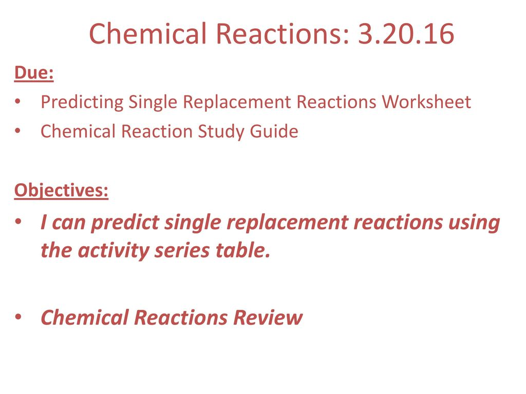 Chemical Reactions Ppt Download