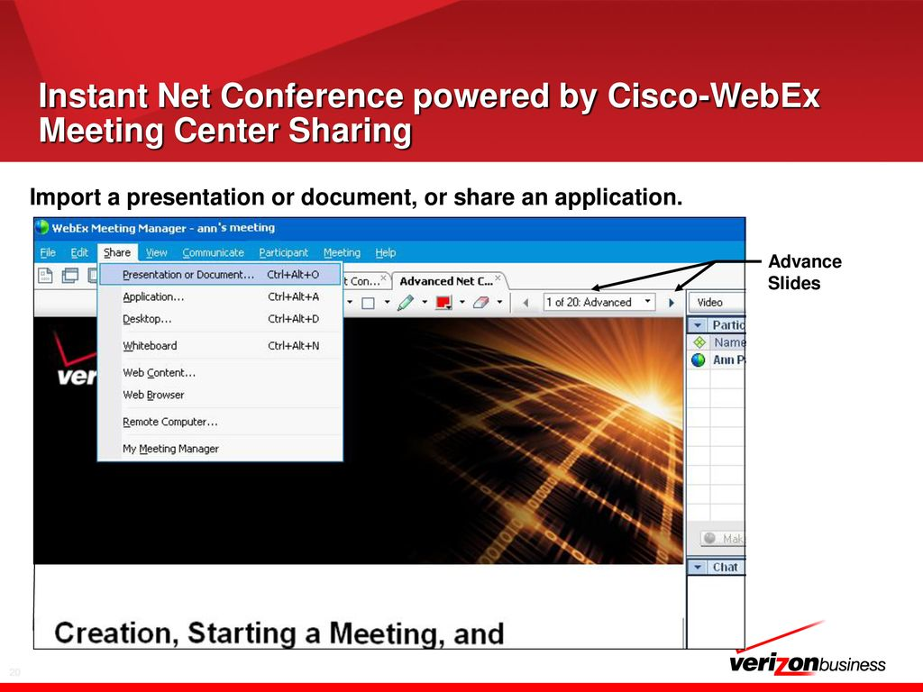 Verizon Instant Net Conference Powered by WebEx Meeting Center - ppt
