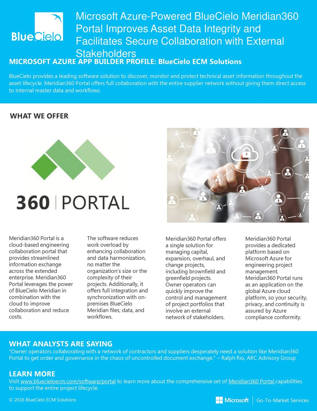 Microsoft Azure-Powered BlueCielo Meridian360 Portal Improves Asset Data Integrity and Facilitates Secure Collaboration with External Stakeholders