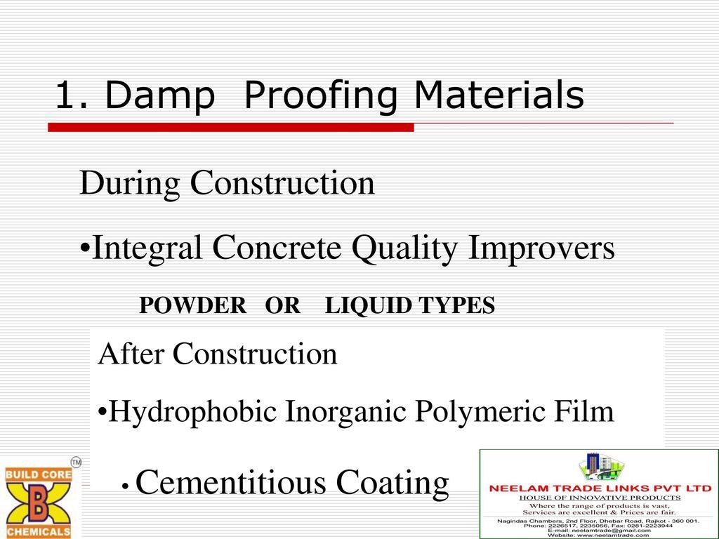Product Range Waterproofing Compounds Epoxy Flooring