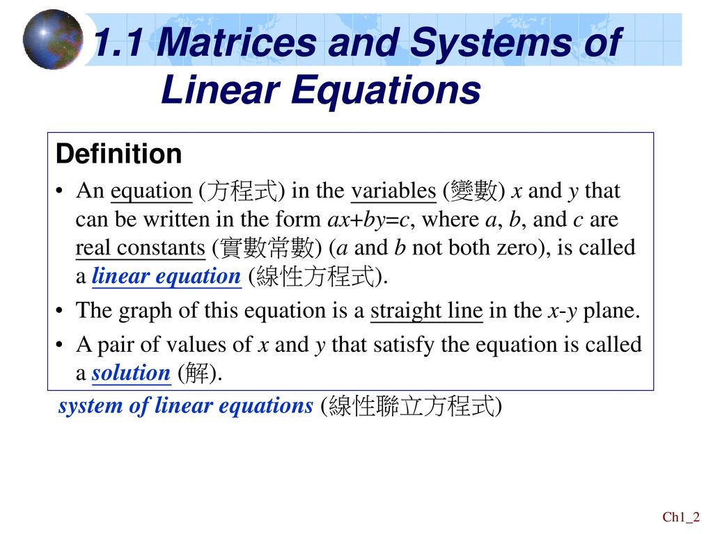 chapter 1 linear equations and vectors - ppt download