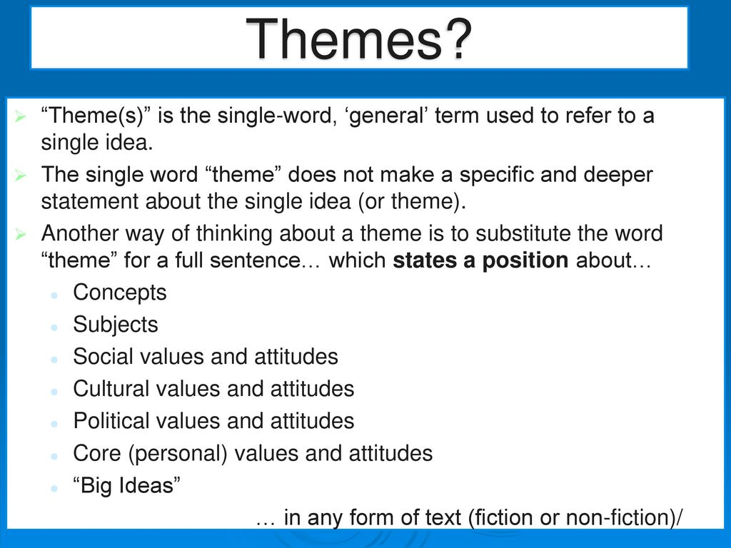 themes theme s is the single word general term used to refer