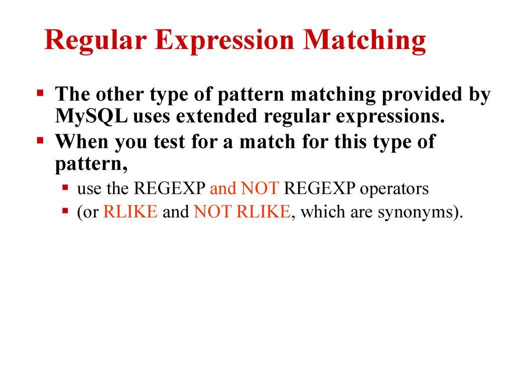 Regexp mysql