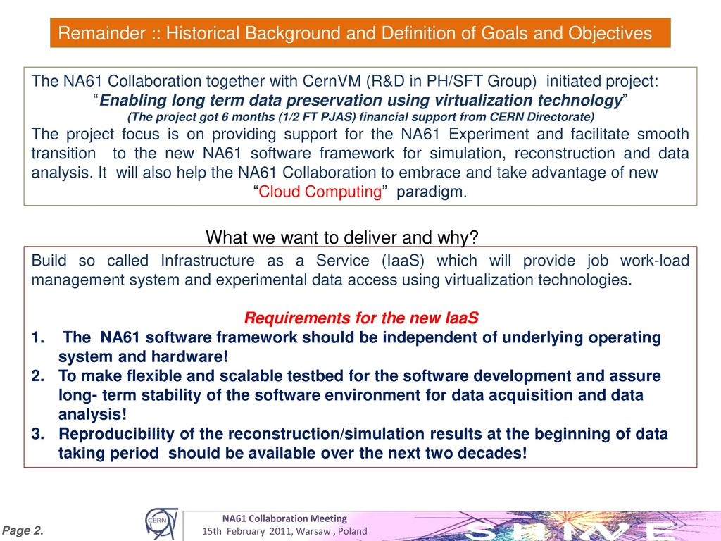 Blueprint of persistent infrastructure as a service ppt download requirements for the new iaas na61 collaboration meeting malvernweather Images