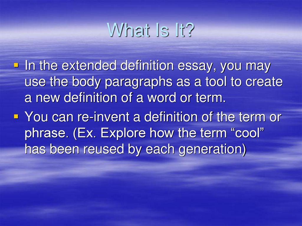 definition essay body paragraphs