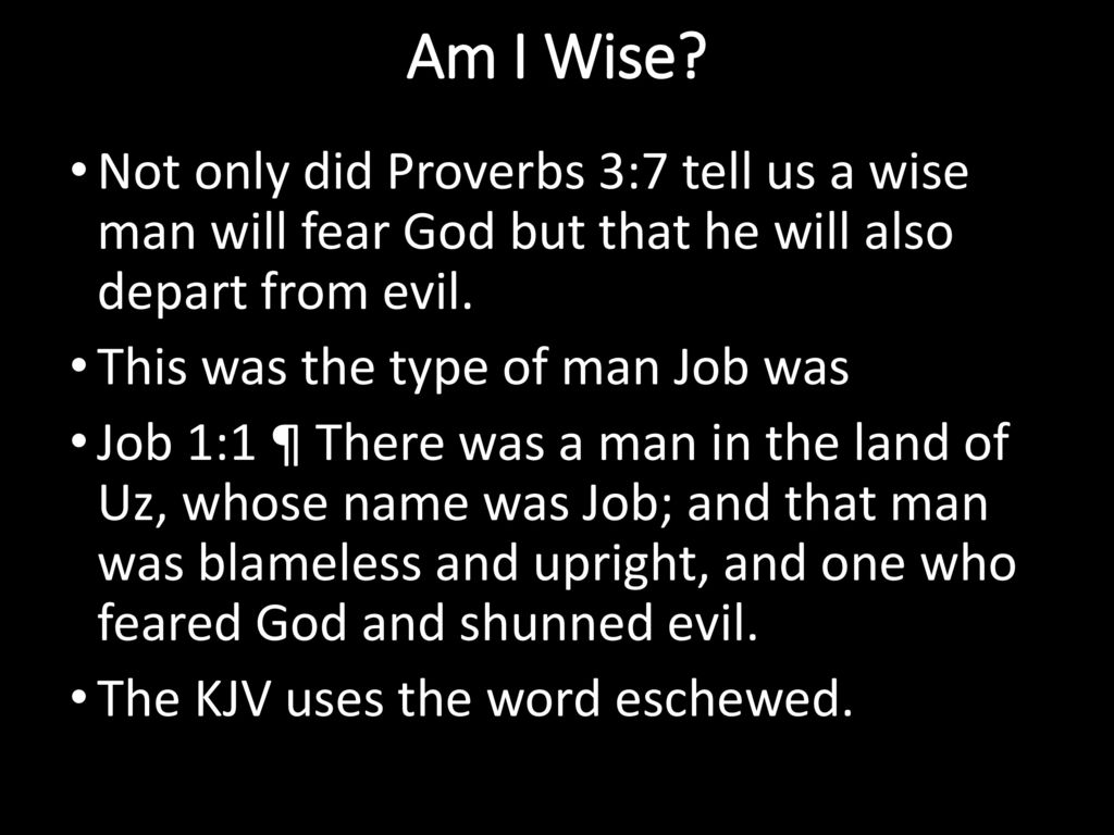 Would the scriptures describe me as a wise person? - ppt