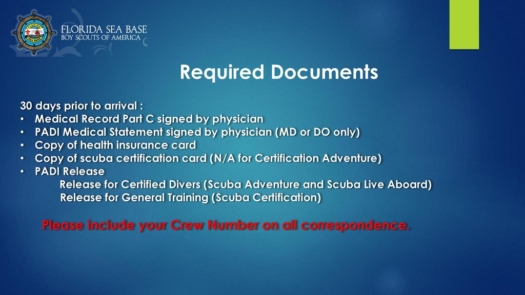 Crew Leader Guide For Required Medical Documentation Ppt Download