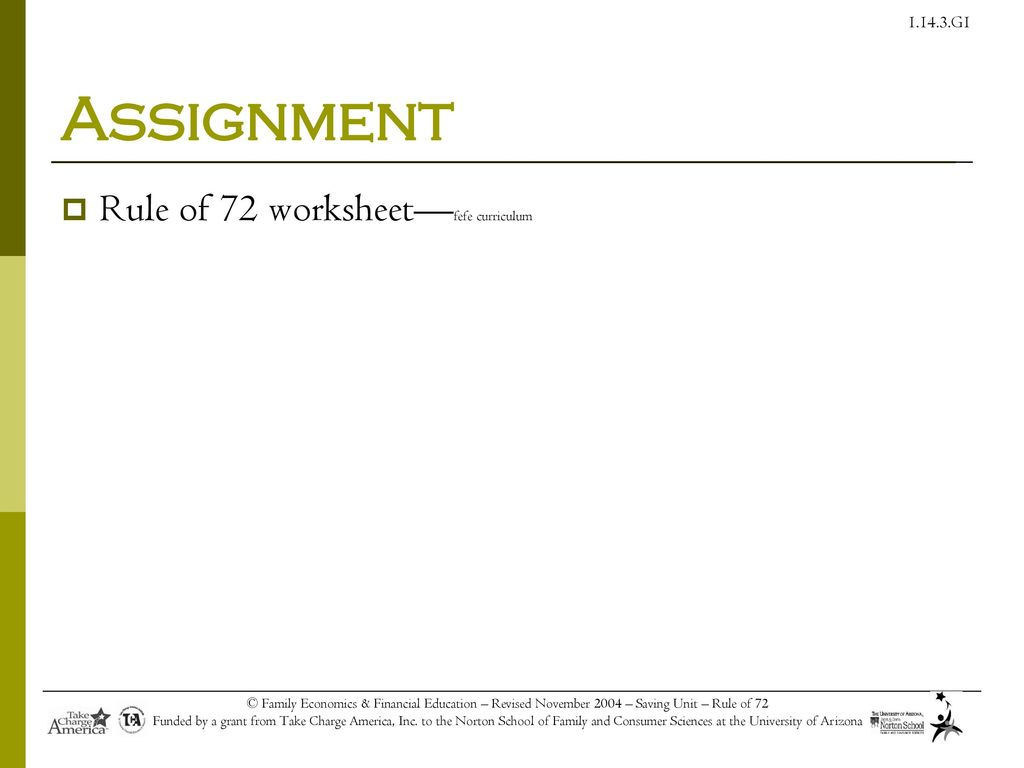 Worksheets Rule Of 72 Worksheet tools for you financial success ppt download 13 assignment rule of 72 curriculum