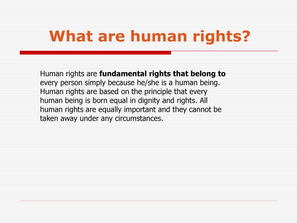 Rights of a person