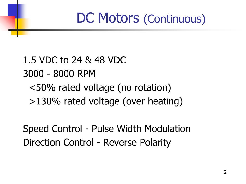 Dc Motors Types Continuous Rotation Servo Remote Control Ppt Ac Motor Speed Circuit Reversing Polarity 2