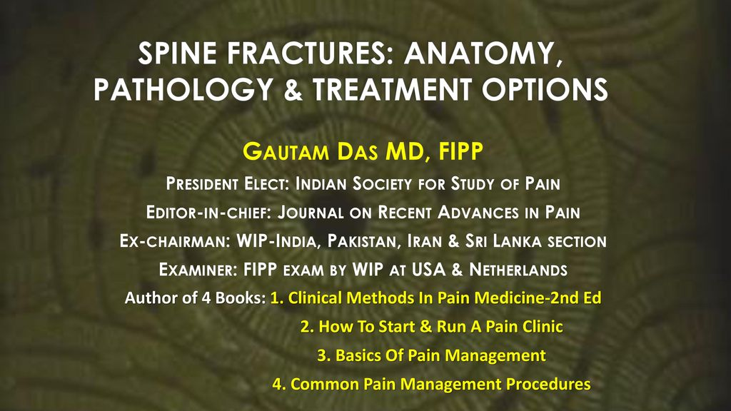 Spine Fractures Anatomy Pathology Treatment Options Ppt Download