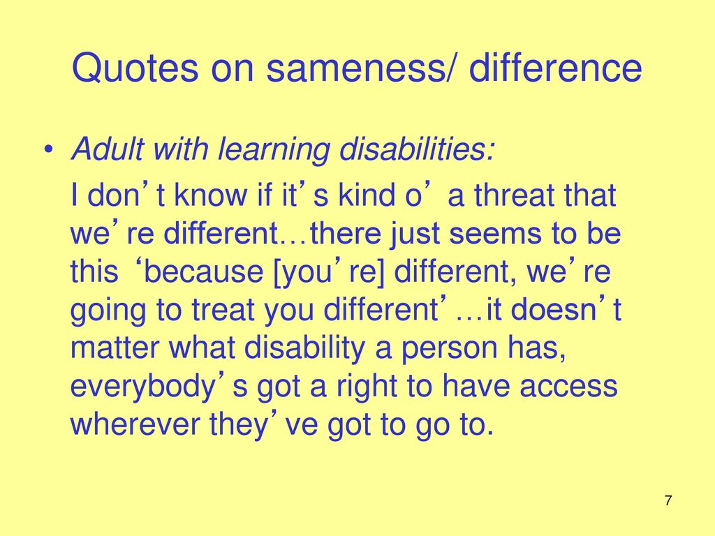 Disability: sameness and difference - ppt download