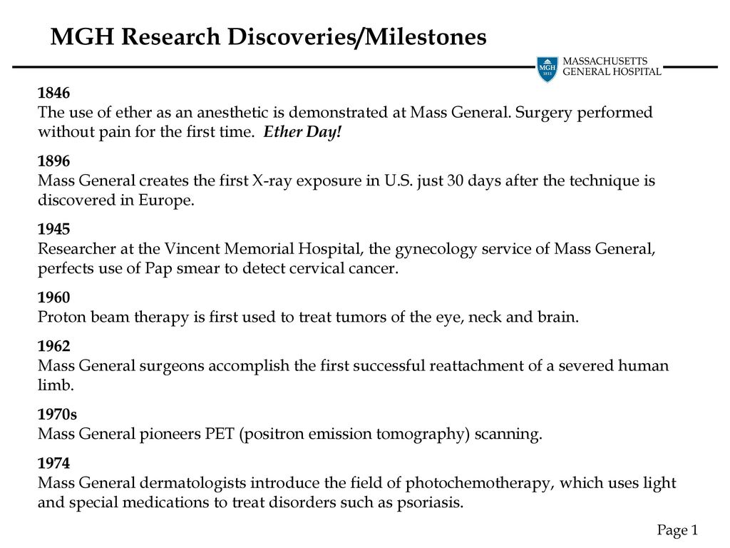 MGH Research Discoveries/Milestones - ppt download
