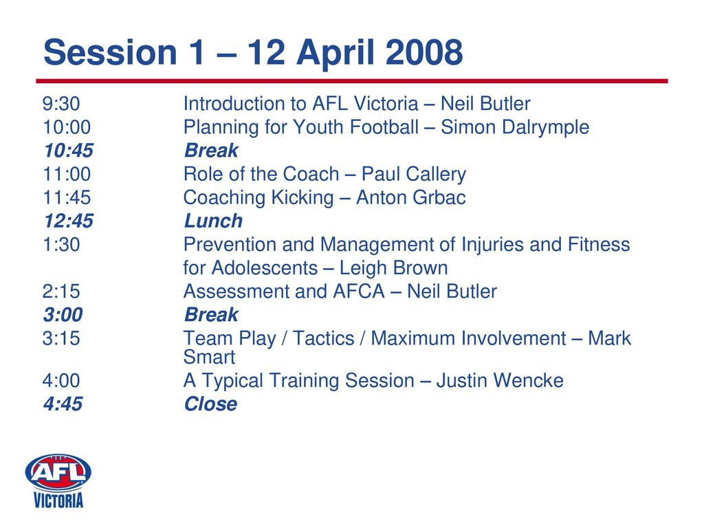 Oakleigh AFCA Level One Youth Coaching Course - ppt download