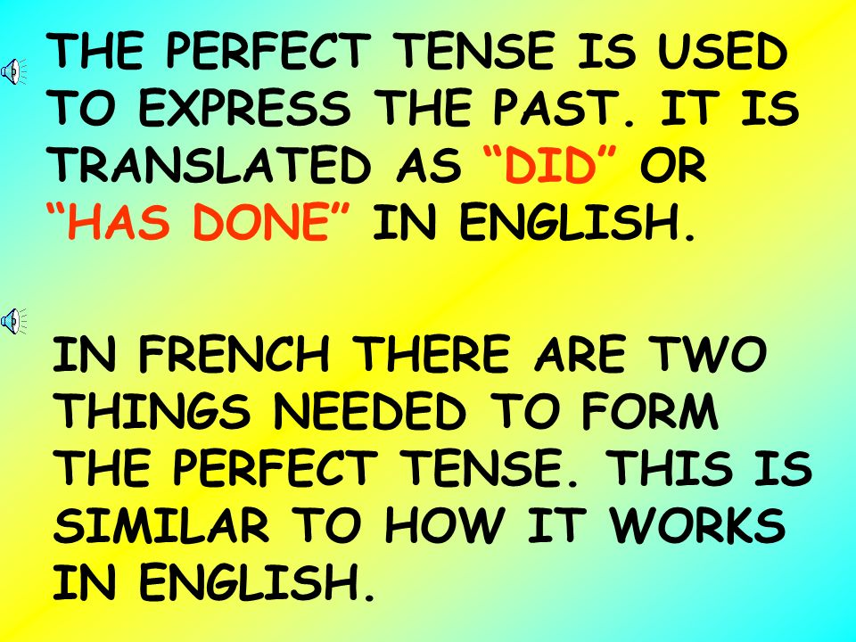 THE PERFECT TENSE IS USED TO EXPRESS THE PAST
