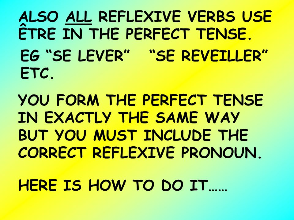 ALSO ALL REFLEXIVE VERBS USE ÊTRE IN THE PERFECT TENSE.