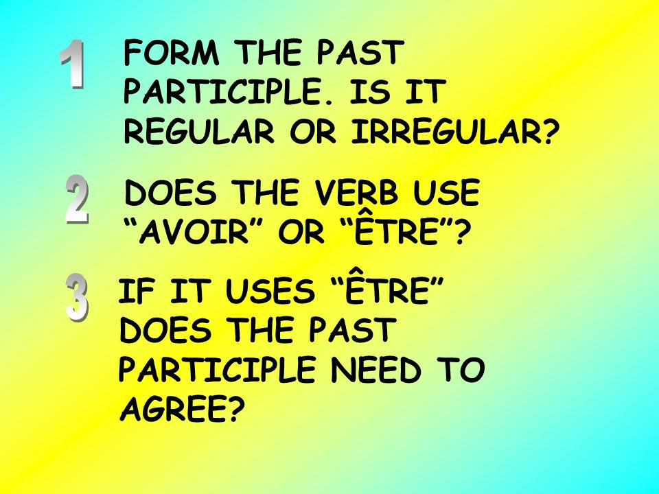 FORM THE PAST PARTICIPLE. IS IT REGULAR OR IRREGULAR
