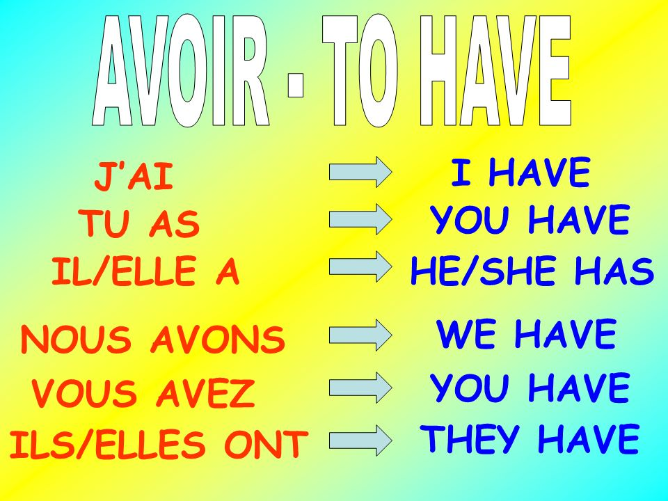 J'AI I HAVE TU AS YOU HAVE IL/ELLE A HE/SHE HAS WE HAVE NOUS AVONS