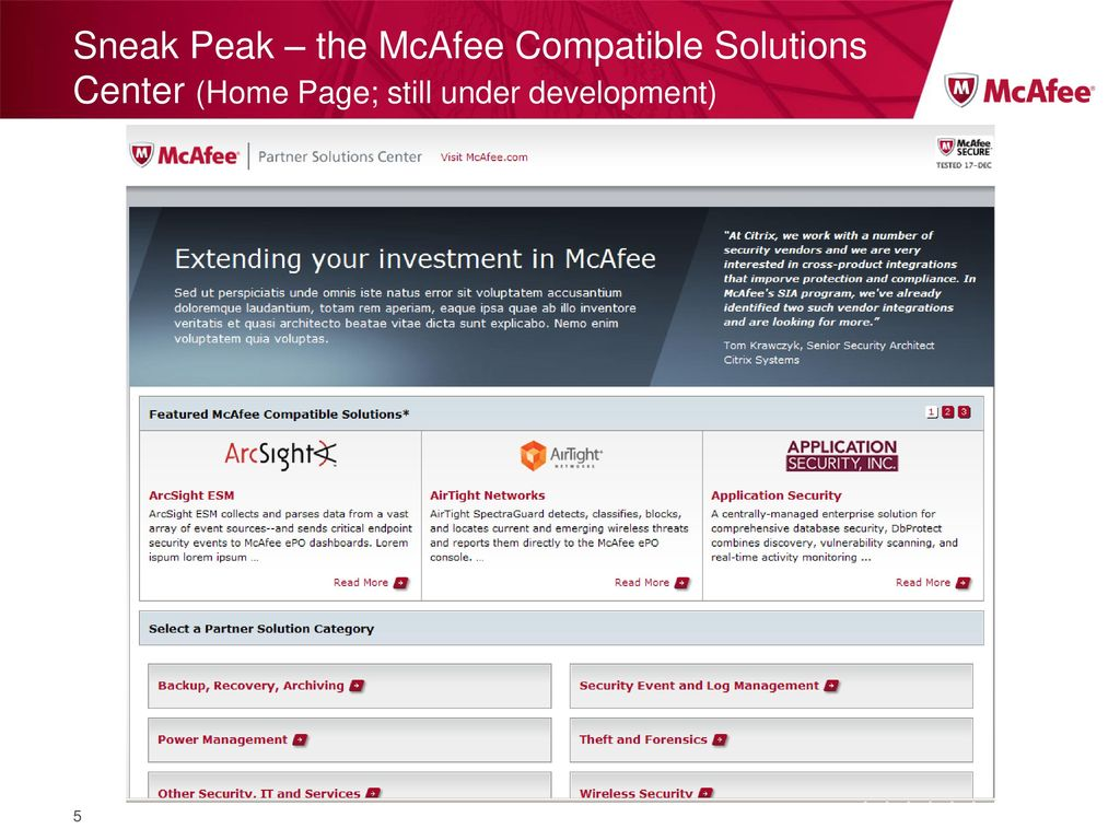 What is the McAfee Compatible Solutions Center? - ppt download