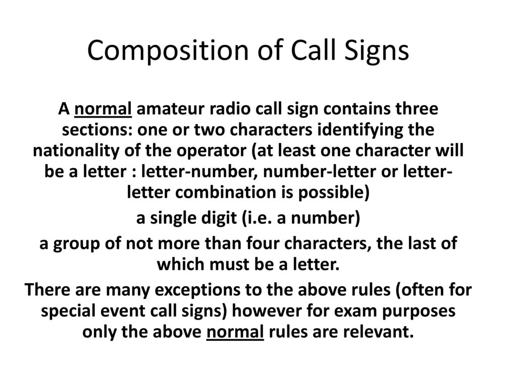 composition of call signs