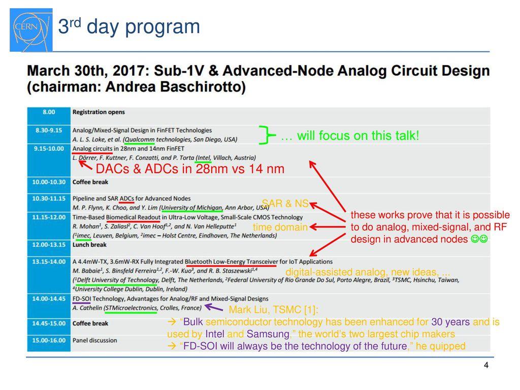 AACD'17 Workshop Report: Advanced-node Analog Circuit Design