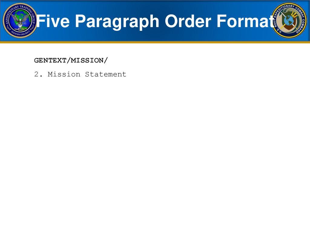 Five Paragraph Order Format