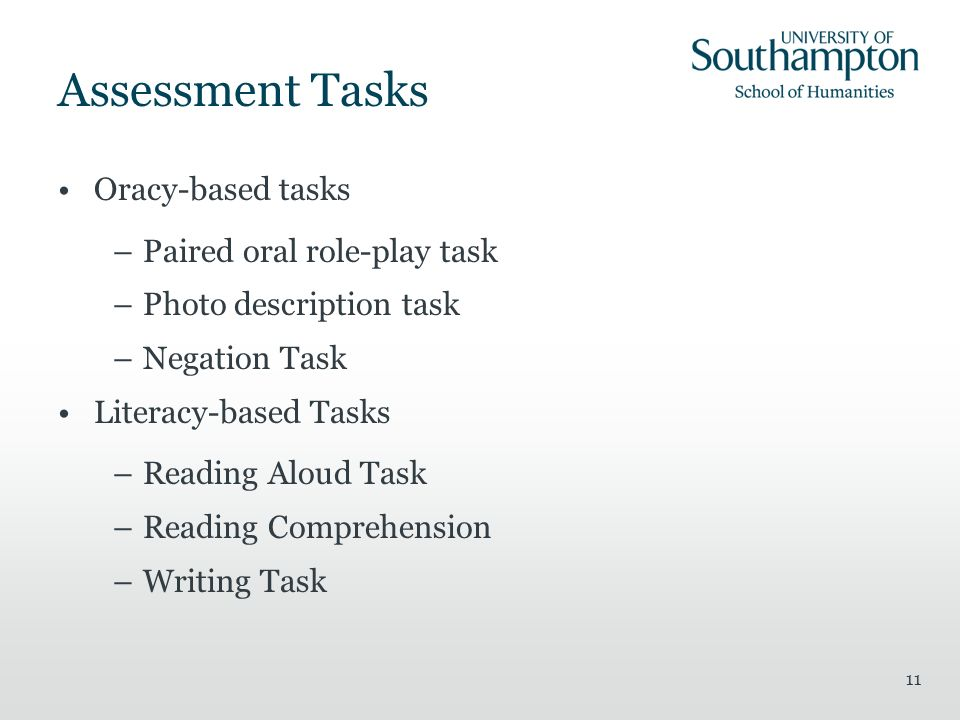 Assessment Tasks Oracy-based tasks Paired oral role-play task