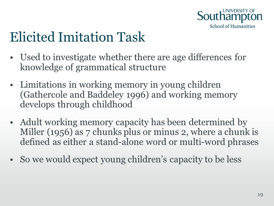 Elicited Imitation Task