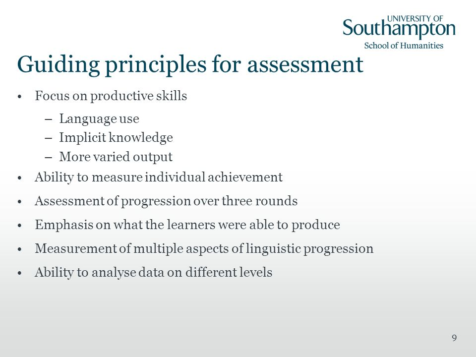 Guiding principles for assessment