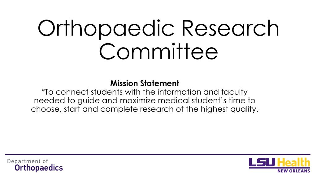 Orthopaedic Research Committee - ppt download