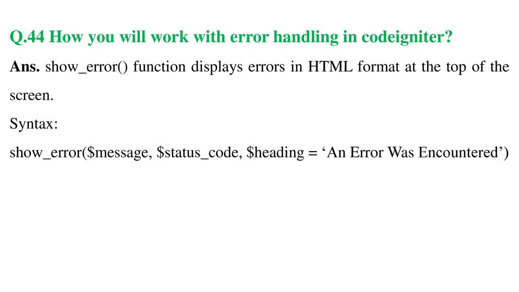 Codeigniter Show Error