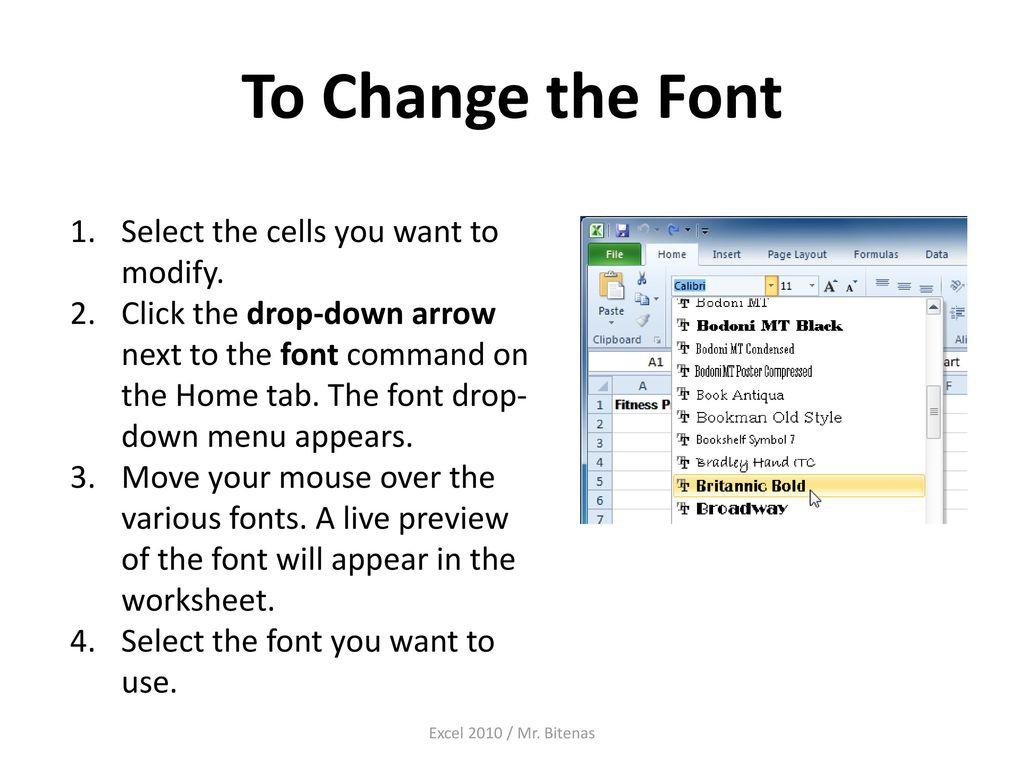 Excel 2010 Formatting Cells - ppt download