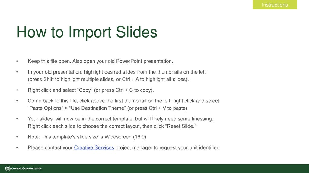 how to import slides instructions ppt download