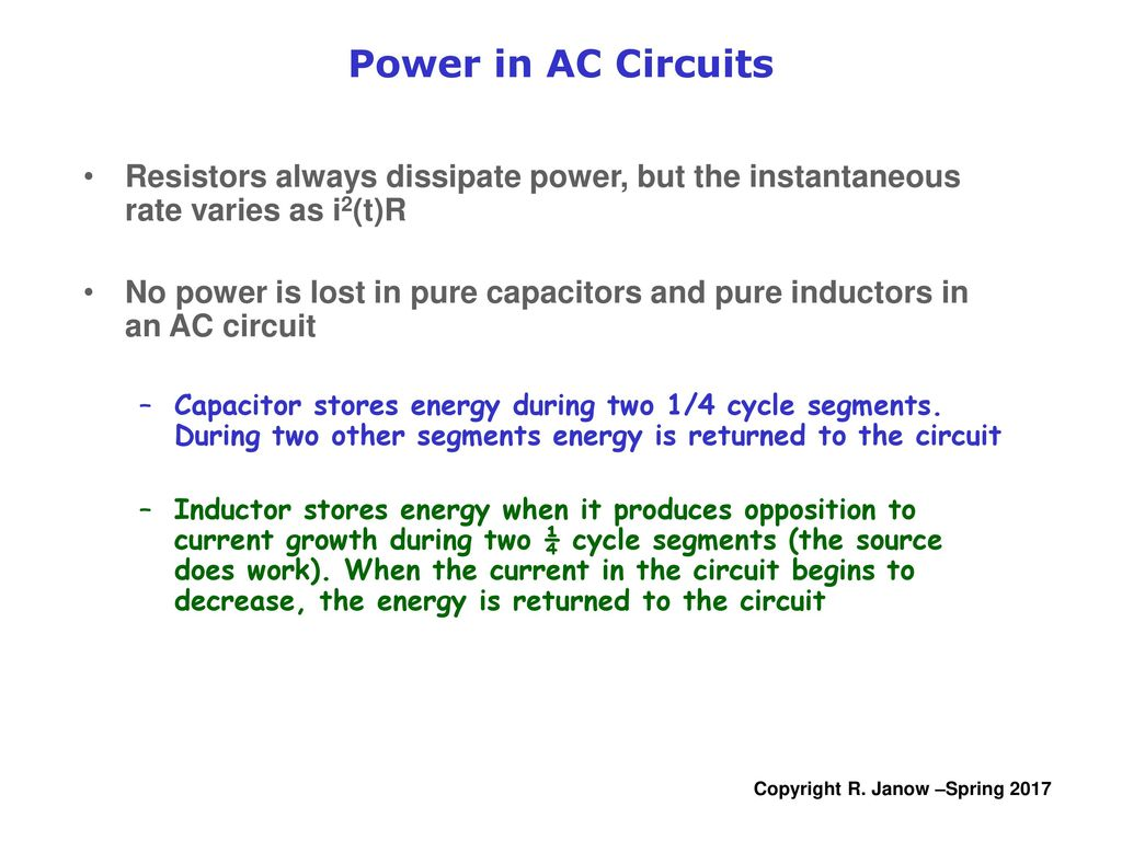 Physics Electricity And Magnetism Lecture 14 Ac Circuits Power In 11