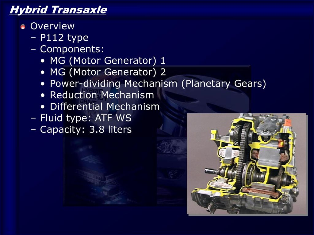 Hybrid Transaxle Overview P112 type Components: MG (Motor Generator) 1