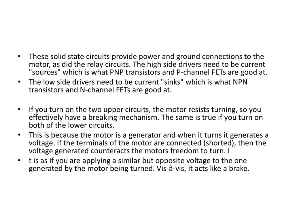 Rfid Concept Based Car Parking System Ppt Download Relay Circuit With Transistor These Solid State Circuits Provide Power And Ground Connections To The Motor As Did