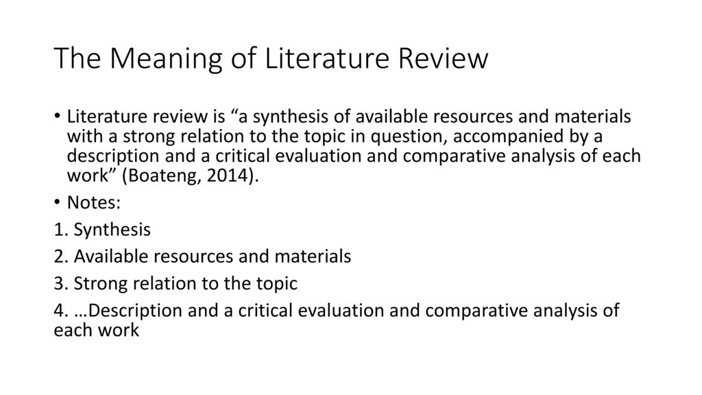 what is the meaning of literature review
