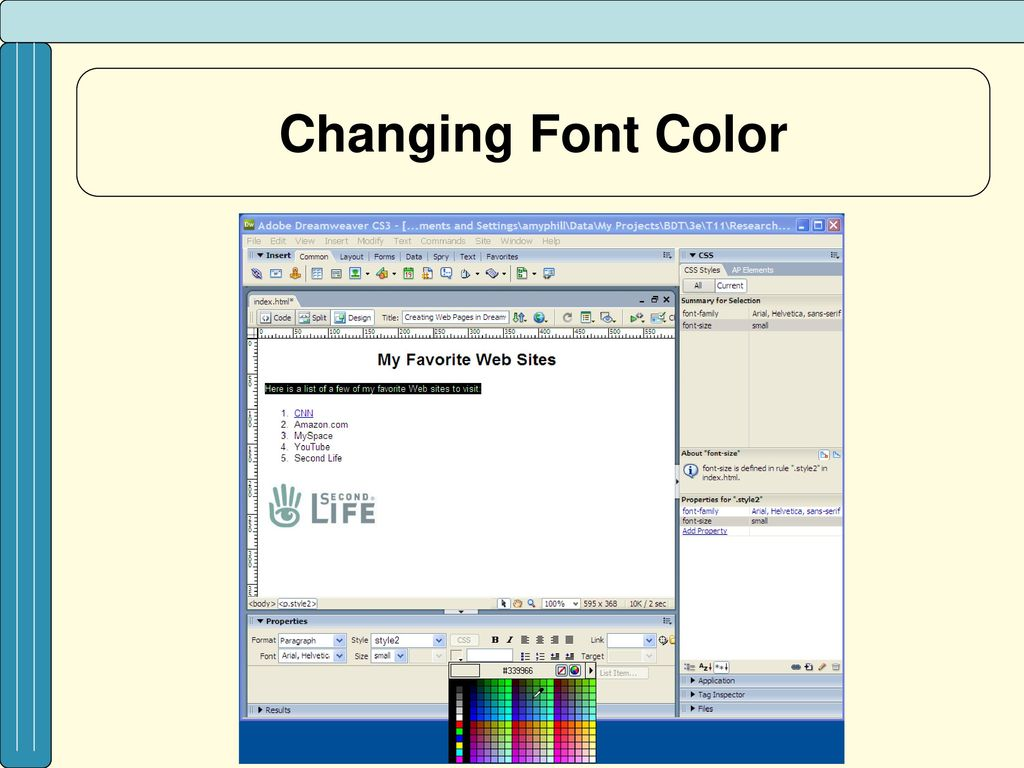 dreamweaver how to change font color