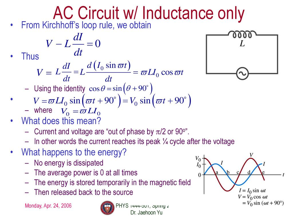 Phys 1444 Section 501 Lecture 22 Ppt Download Ac Inductance In An Circuit 6 W Only