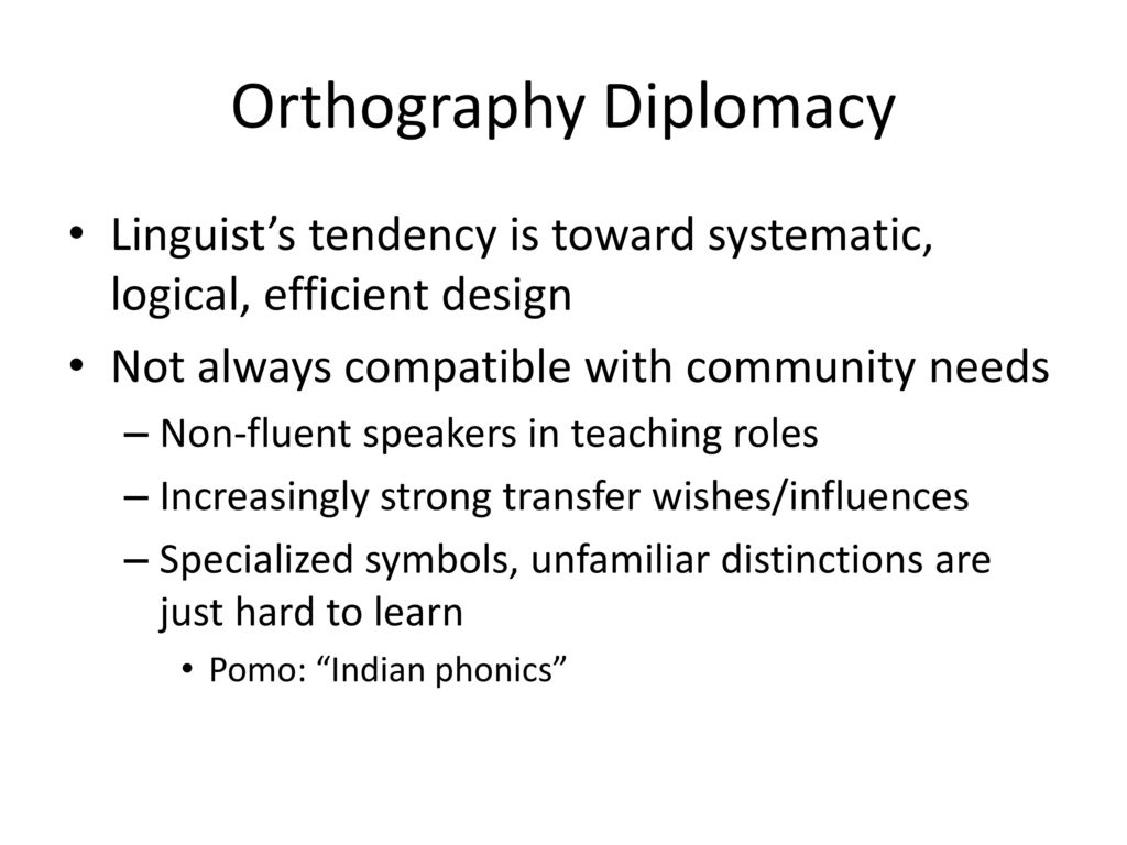Orthography Diplomacy